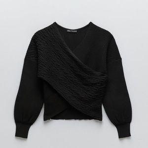 NWT Zara Cable Knit V-Neck Surplice Sweater